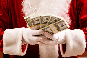 santa with 50 thousand dollars cash