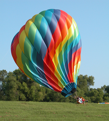 hot air balloon disinflating