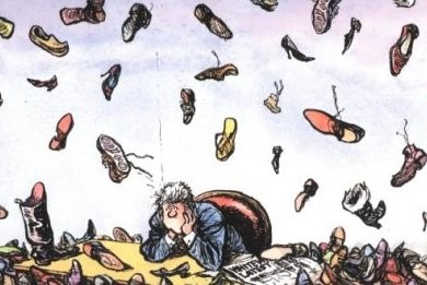 shoes falling from the sky cartoon