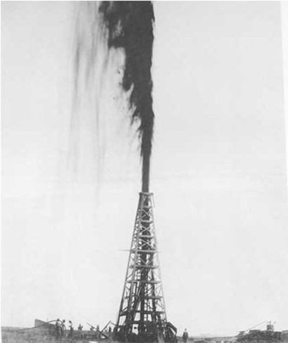 Oil well geyser spurting black and white