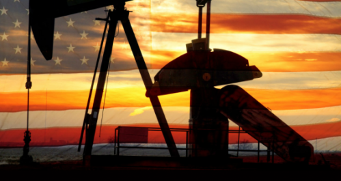 oil derrick pump jack with american flag