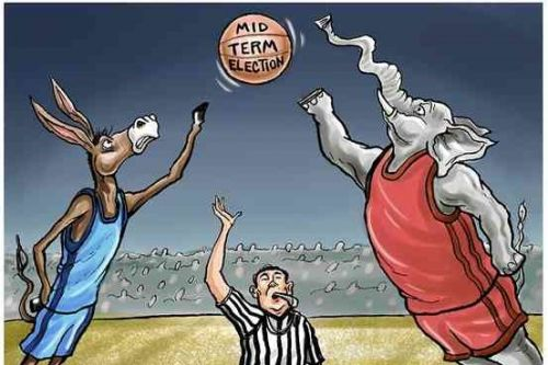 democrat and republican donkey and elephant jump ball mid term