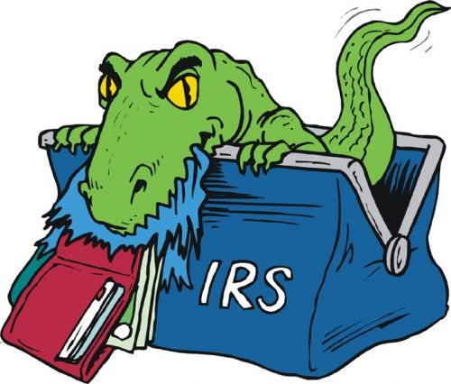 IRS monster coming out of bag