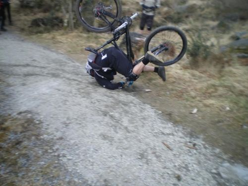 ugly mountain bike crash on a gravel trail